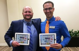 Aaron Peck, left, and James Helm, right, display their Achievers Under 40 awards made at Prism Place, a division of Dale Rogers Training Center.
