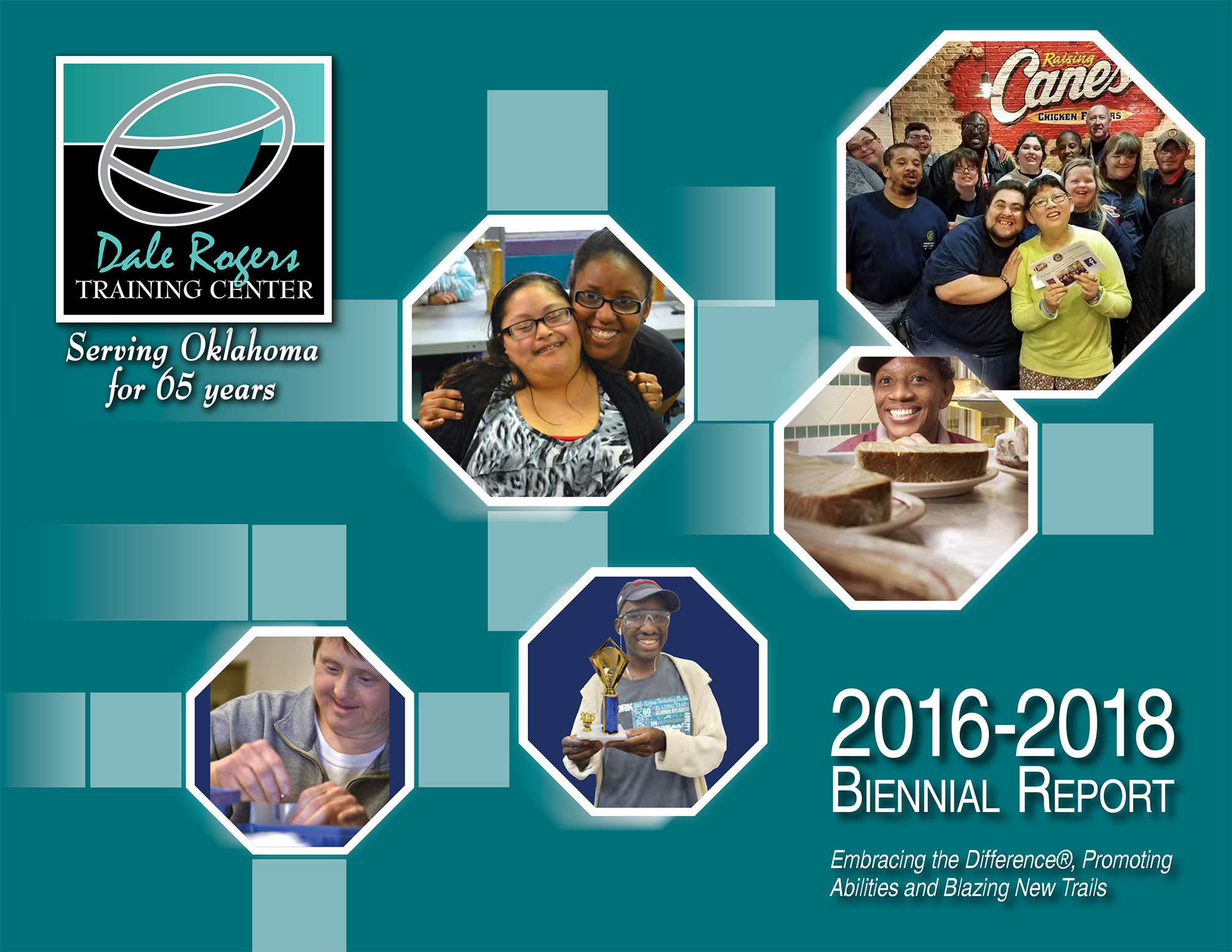 Cover of the 2016-2018 DRTC Biennial Report featuring several images of individuals in DRTC's programs.